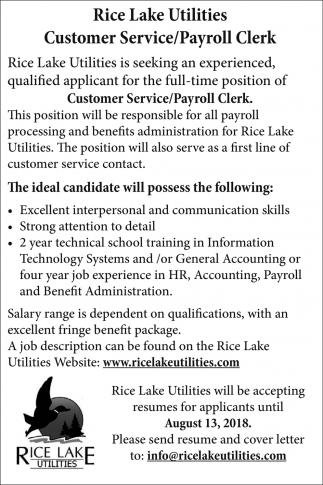 Customer Service/Payroll Clerk