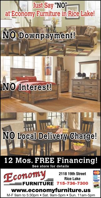 12 Mos. Free Financing, Economy Furniture, Rice Lake, WI