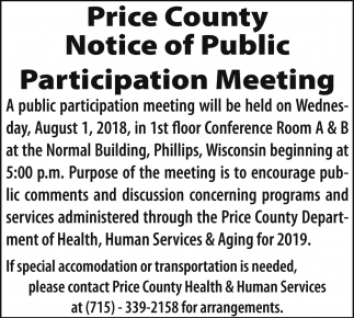 Notice of Public Participation Meeting