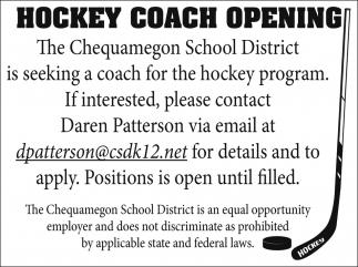 Hockey Coach Opening
