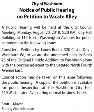 Petition to Vacate Alley