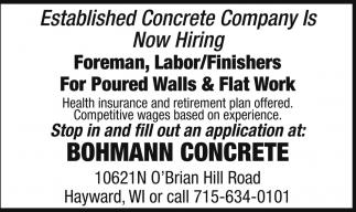 Foreman, Labor/Finishers