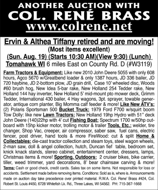 Ervin & Althea Tiffany Retired Are Moving