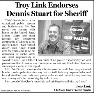 Troy Link Endorses Dennis Stuart For Sheriff