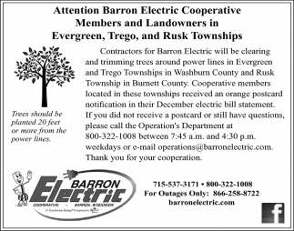 Attention Barron Electric Cooperative Members and Landowners