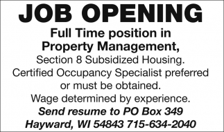 Job Opening - Property Management