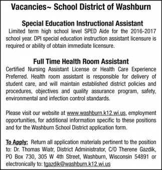 Special Education Instructional Assistant - Health Room Assistant