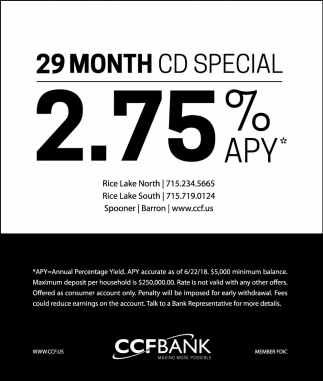 29 month CD special 2.75% APY