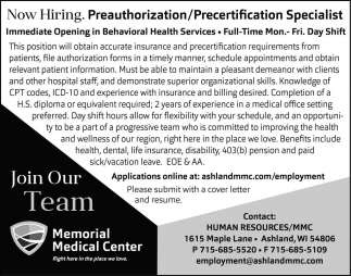 Preauthorization/Precertification Specialist