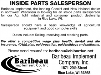 Inside Parts Salesperson