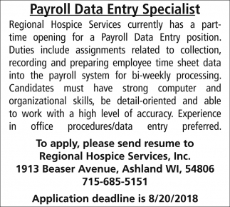 Payroll Data Entry Specialist