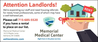 Attention Landlords! Rental Places