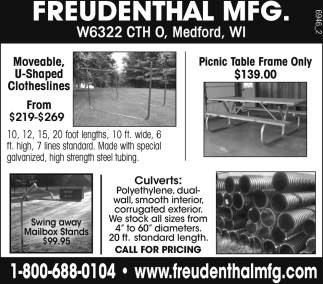 Clotheslines, Picnic Table Frame, Mailbox, Culverts, Freudenthal ...