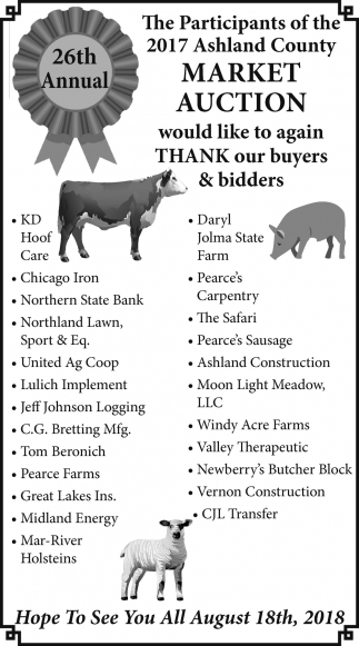 26th Annual Ashland County Market Auction