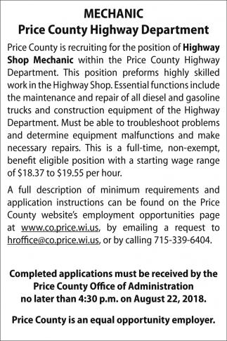 Highway Shop Mechanic