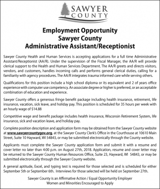 Administrative Assistant - Receptionist, Sawyer County ...