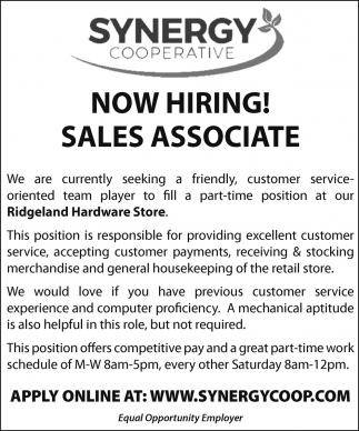 Now Hiring! Sales Associate