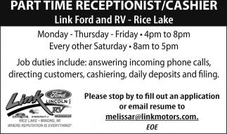 Link Ford Rice Lake >> Receptionist Cashier Link Ford Minong Wi