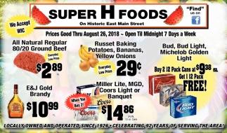Prices Thru August 26, 2018