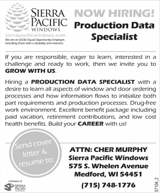 Now Hiring Production Data Specialist!