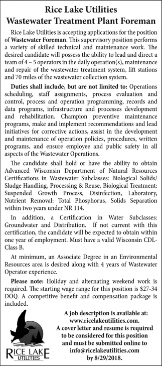 Wastewater Treatment Plant Foreman
