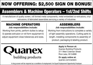 Assemblers & Machine Operators