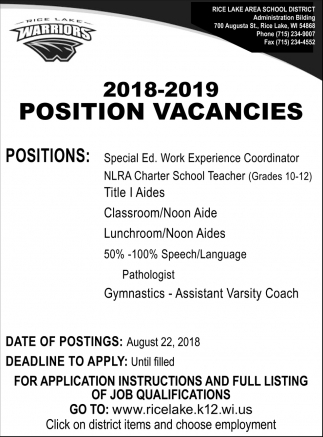 Position Vacancies Rice Lake Area School District Rice Lake Wi