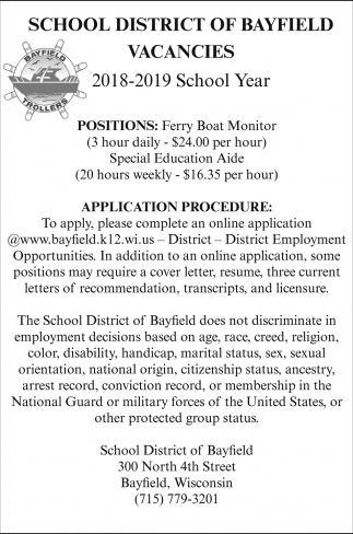 Ferry Boat Monitor, Special Education Aide