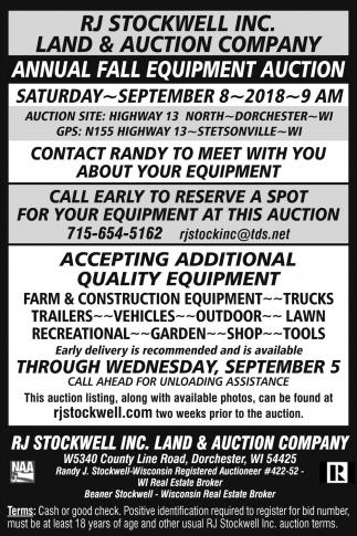 Annual Fall Equipment Auction