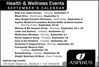 Health & Wellness Events September's Calendar