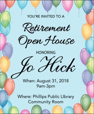 Retirement Open House Jo Hick