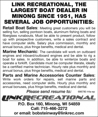 Retail Boat Sales, Marine Mechanic, Counter Sales