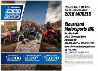 CLOSEOUT DEALS ON ALL REMAINIG 2016 MODELS