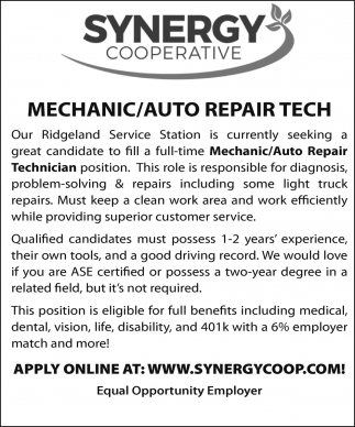 Mechanic - Auto Repair Tech