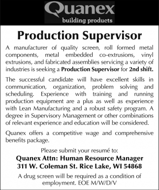 Production Supervisor