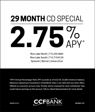 29 Month CD SPecial - 2.75% APY*