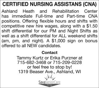 Certified Nursing Assistants Cna Savaseniorcare