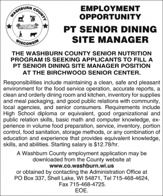 Senior Dining Site Manager