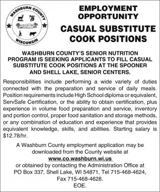 Casual Substitute Cook