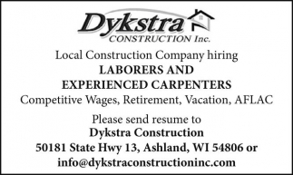 LABORERS AND EXPERIENCED CARPENTERS