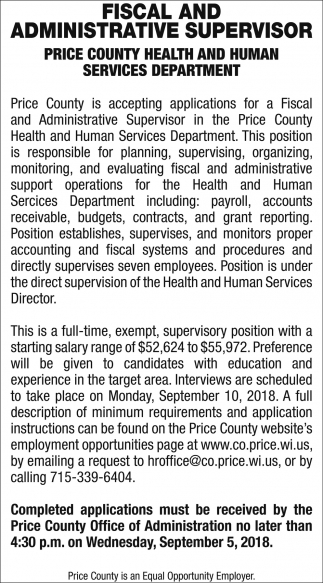 Fiscal And Administrative Supervisor