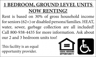 1 Bedroom, Ground Level Units Now Renting!