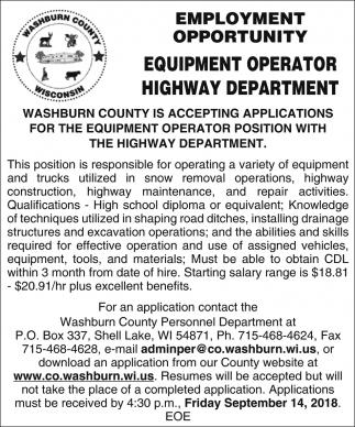 Equipment Operator Highway Department