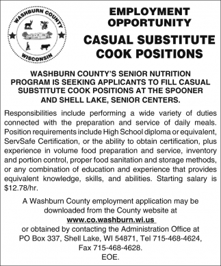 Casual Substitute Cook Positions