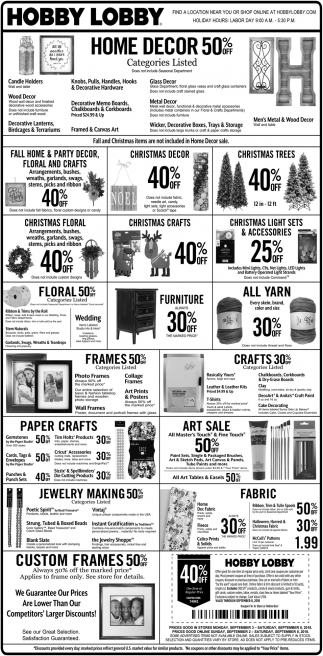home decor 50 off hobby lobby rice lake rice lake wi - Hobby Lobby Day After Christmas Sales