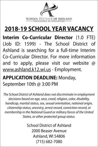 2018-19 School Year Vacancy