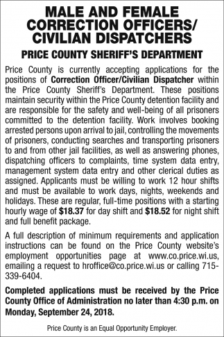 Male And Female Correction Officers/Civilian Dispatchers