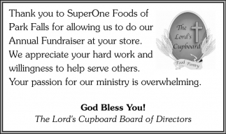 Thanks you to SuperOne Foods of Park Falls