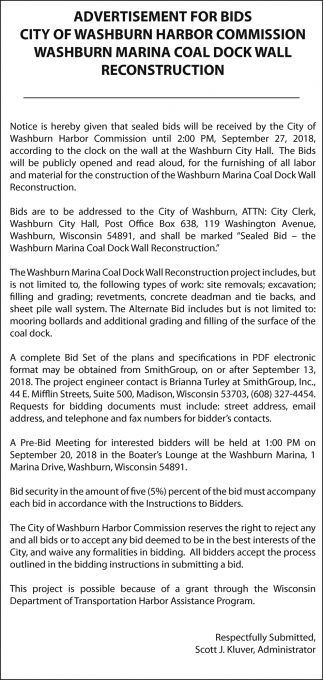 Advertisement For Bids City Of Washburn Harbor Commission
