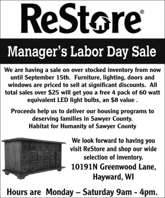 Manager's Labor Day Sale
